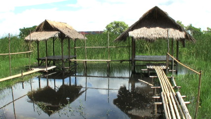 Bamboo Huts On The Water