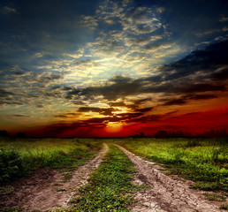 country road and sunset