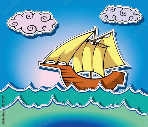 Stylized sailing ship in oceanic waves, vector