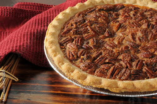 Pecan pie close up