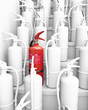 bunch of extinguishers, assembled on a stairway 3d rendering