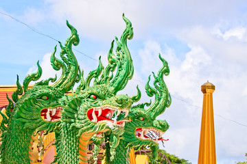 Three head of Naga with blue sky in the temple, Thailand