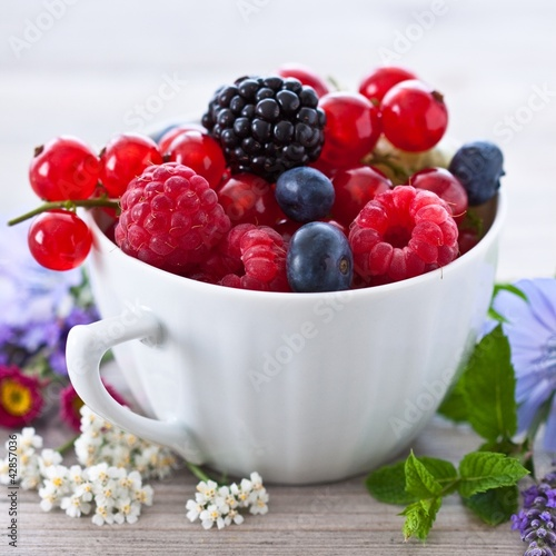 Cup with summer berries