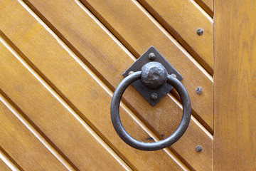 Wooden door with knocker