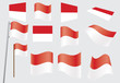 set of flags of Monaco vector illustration