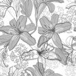 Beautiful seamless pattern with lilies, vector illustration.