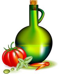 Olio, pomodoro, basilico e peperoncino