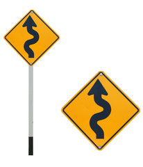 Curve way traffic sign