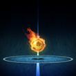 Fussball in Flammen auf Hallen Spielfeld 3D