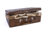Old wooden box with photos and documents