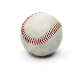 Grunge dirty baseball ball isolated on white background