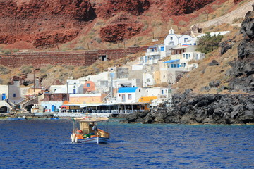 Thirassia harbor, Santorini, Greece
