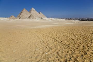 Giza pyramids with the city