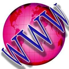 globe with the inscription www