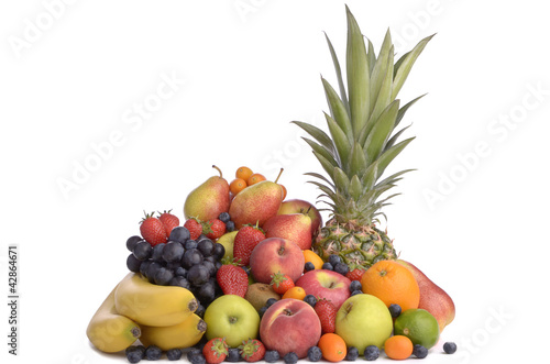 Fresh fruits mixed and piled