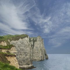 white cliffs at Etretat in French Normandy