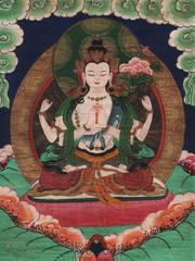 """Tibetan Buddhist Painting - """"White Tara"""""""