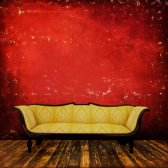 Sofa in an interior grunge