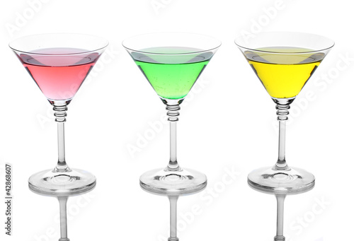 alcoholic cocktails isolated on white