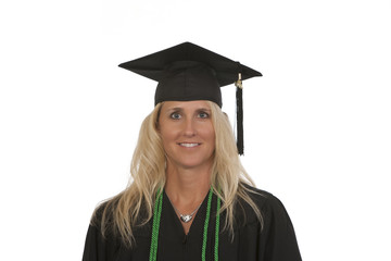 Portrait female college graduate with honors