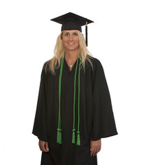 Mature female college graduate with honors