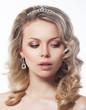 Portrait of young beautiful woman blonde hair closeup