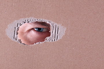 The man spies through a hole in a cardboard box