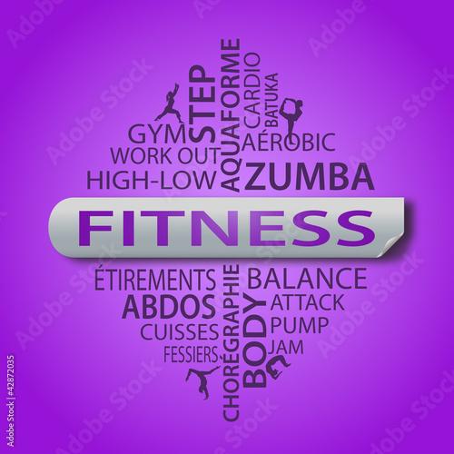 nuage de mots fitness fond violet