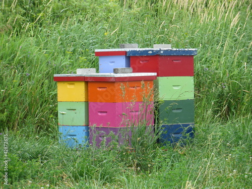 Two colourful bee hives