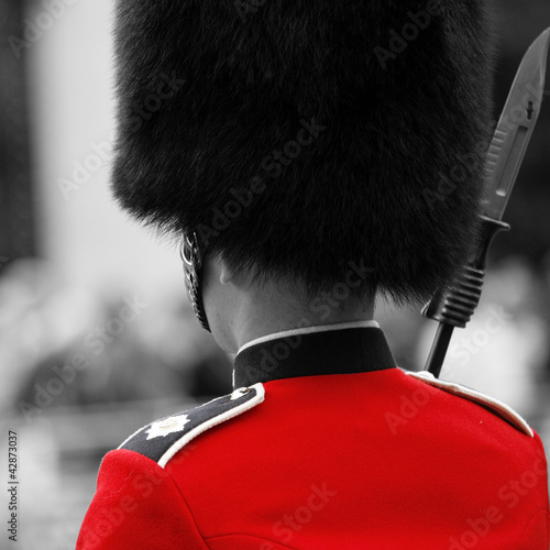 Deurstickers Rood, zwart, wit Queen's soldier at Trooping the color, 2012