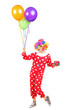 Male clown, happy joyful expression on face, with a bunch of bal