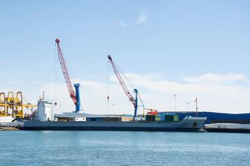 Cargo ship loading windmill parts