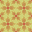 seamless pattern with plant motive on yellow background, Print