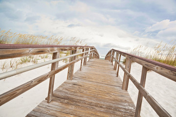 Boardwalk Path Leads to the Beach and Ocean