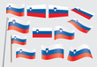 set of flags of Slovenia vector illustration