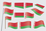 set of flags of Belarus vector illustration