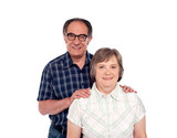 Happy senior lovable couple posing poster