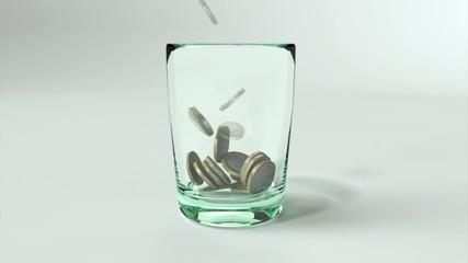 Euro Münzen im Glas 3