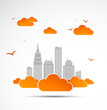 Sky-scraper. City theme background. Autumn  Vector