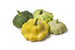 Different types of  Pattypan Squashes