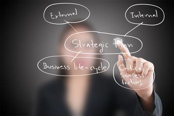 Business lady pushing strategic planning on the whiteboard.