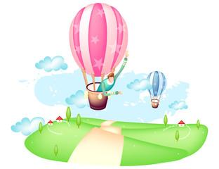 Man flying hot air balloon