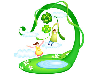 Man and woman flying holding clovers