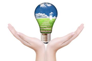 Hand putting light bulb for save world.