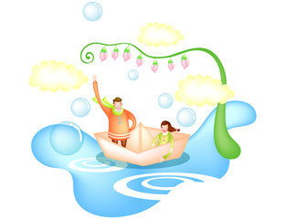 Man and woman on  paper boat