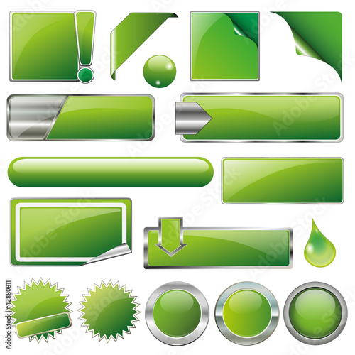 Green Collection Vector-Button-Set