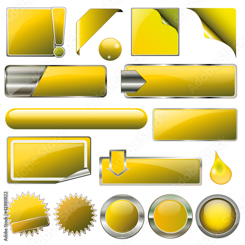 Yellow Collection Vector-Button-Set