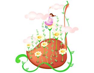 Girl sitting on flower