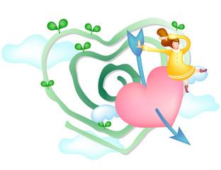 Girl sitting on heart shot by arrow
