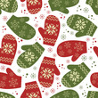 Christmas seamless pattern with mittens